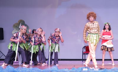 Students performing during form assembly organized by Sat Paul Mittal School