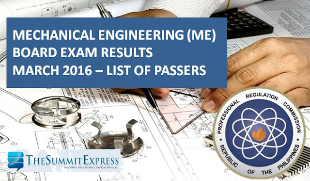 March 2016 Mechanical Engineer (ME), CPM board exam results