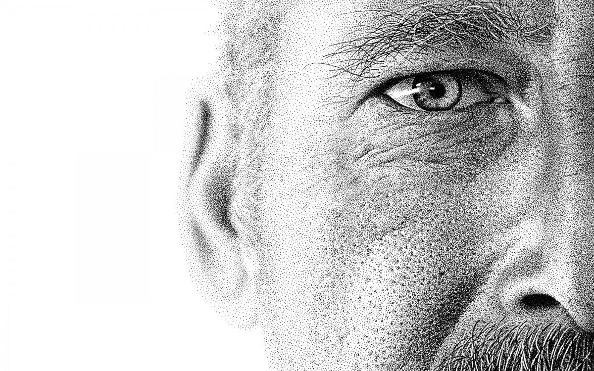 Pontilhismo com um retrato produzido em 210 horas