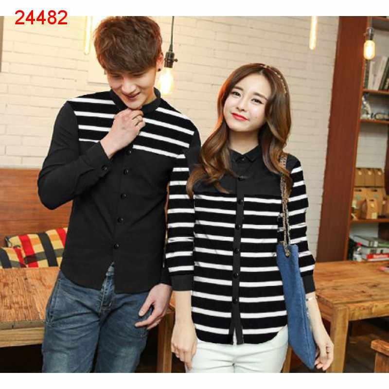 Jual Kemeja Couple Line Black - 24482