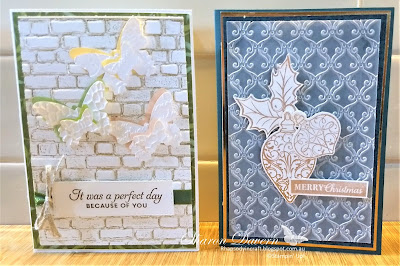 Embossing folders, Stampin' Up!, Butterfly Wishes, Christmas Gleaming, Christmas cards, Butterfly duet punch, Garden Lane DSP, Brightly Gleaming Specialty DSP, Rhaspsody in craft, Art with heart