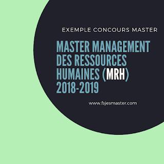Exemple Concours Master Management des Ressources Humaines (MRH) 2018-2019 - Fsjes Ain Sebaa