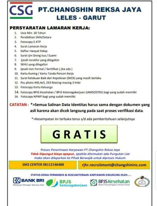 Lowongan Pekerjaan Pt Changshin Reksa Jaya Lowker Lowongan Kerja Bandung 2021