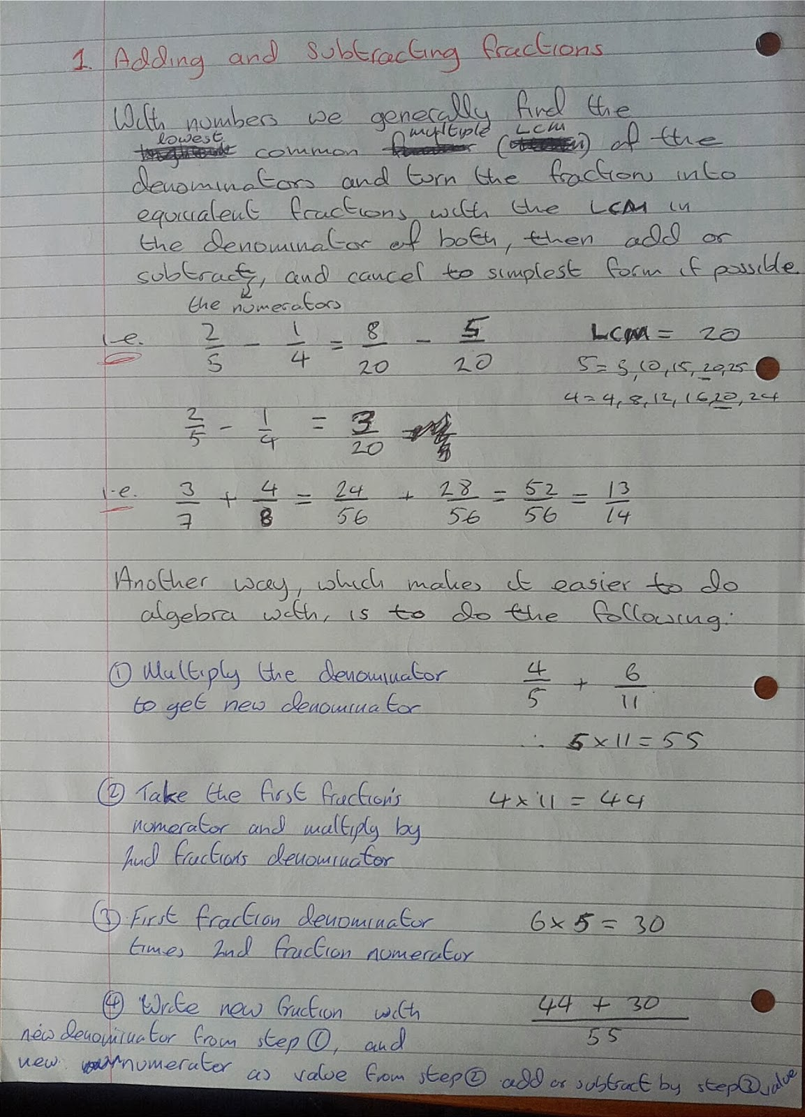 A Level Maths Notes: A2 - Adding and subtracting rational