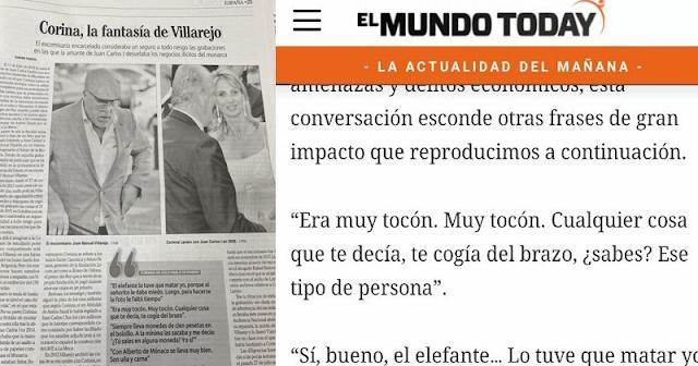Faro de Vigo reproduce unas frases de Corinna sobre Juan Carlos I que se inventó El Mundo Today