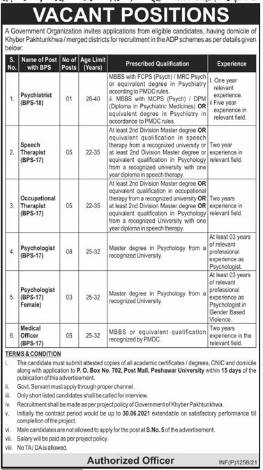 Government Organization PO Box 702 Jobs 2021 in Pakistan - Psychologist Jobs 2021 - Therapist Jobs 2021 - Medical Officer Jobs 2021