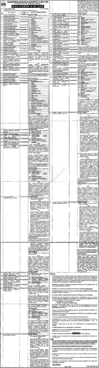 Bahauddin Zakariya University New jobs