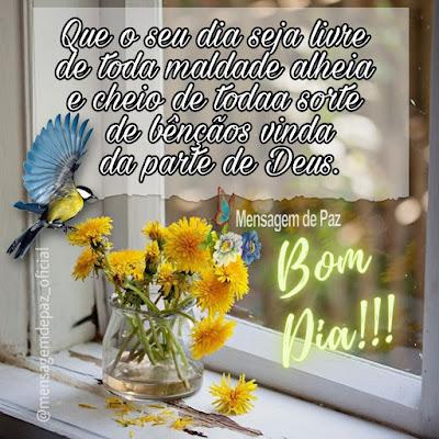 Que o seu dia seja livre  de toda maldade alheia  e cheio de todaa sorte  de bênçãos vinda da parte de Deus. Bom Dia!