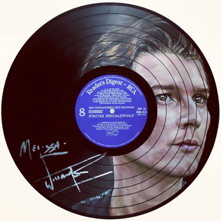 13-William-Beckett-Melissa-Jane-Celebrity-Portrait-Drawings-On-Used-Vinyl-Records-www-designstack-co