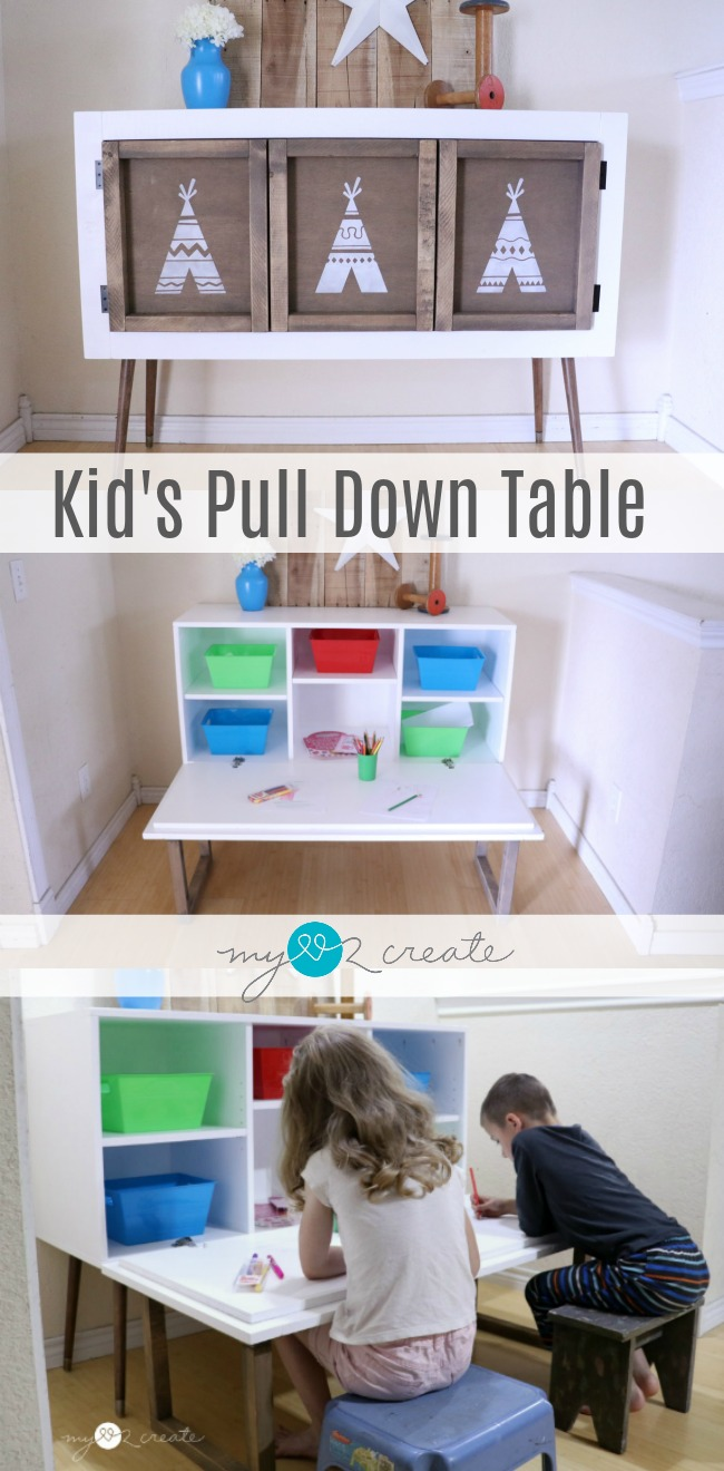 I love this!  It looks like a credenza, but is actually a kids pull down table, great way to hide the mess!