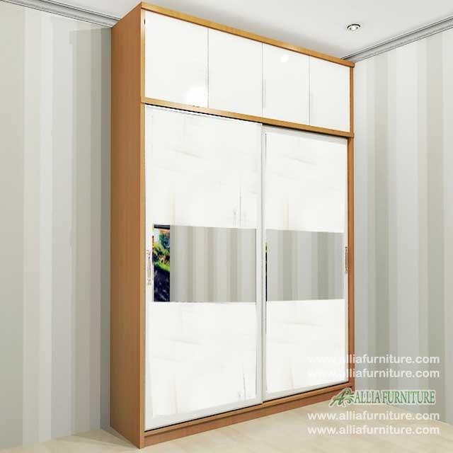 lemari pakaian minimalis 2 pintu sliding f4