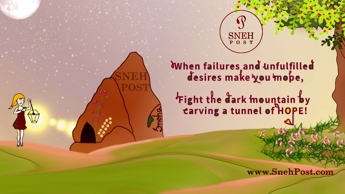 How to hope with quick enlighteners quote cartoon: Hopeful girl with lamp light in hand to fight mountain of failures by carving tunnel of hope