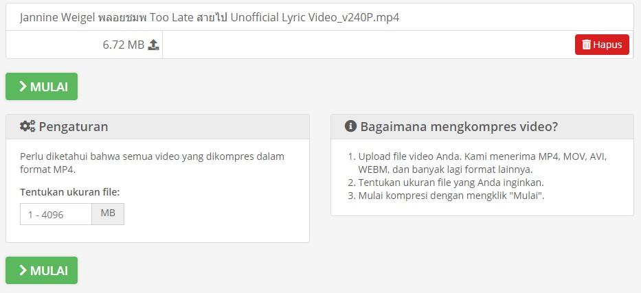 Menentukan Ukuran File Video di Compress2Go