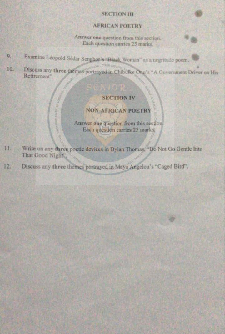 NECO 2021 Literature in English Obj & Theory/Essay questions and answers is Out (Drama poetry)