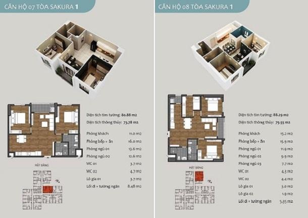 Thiết kế căn hộ 07 chung cư Sakura 1