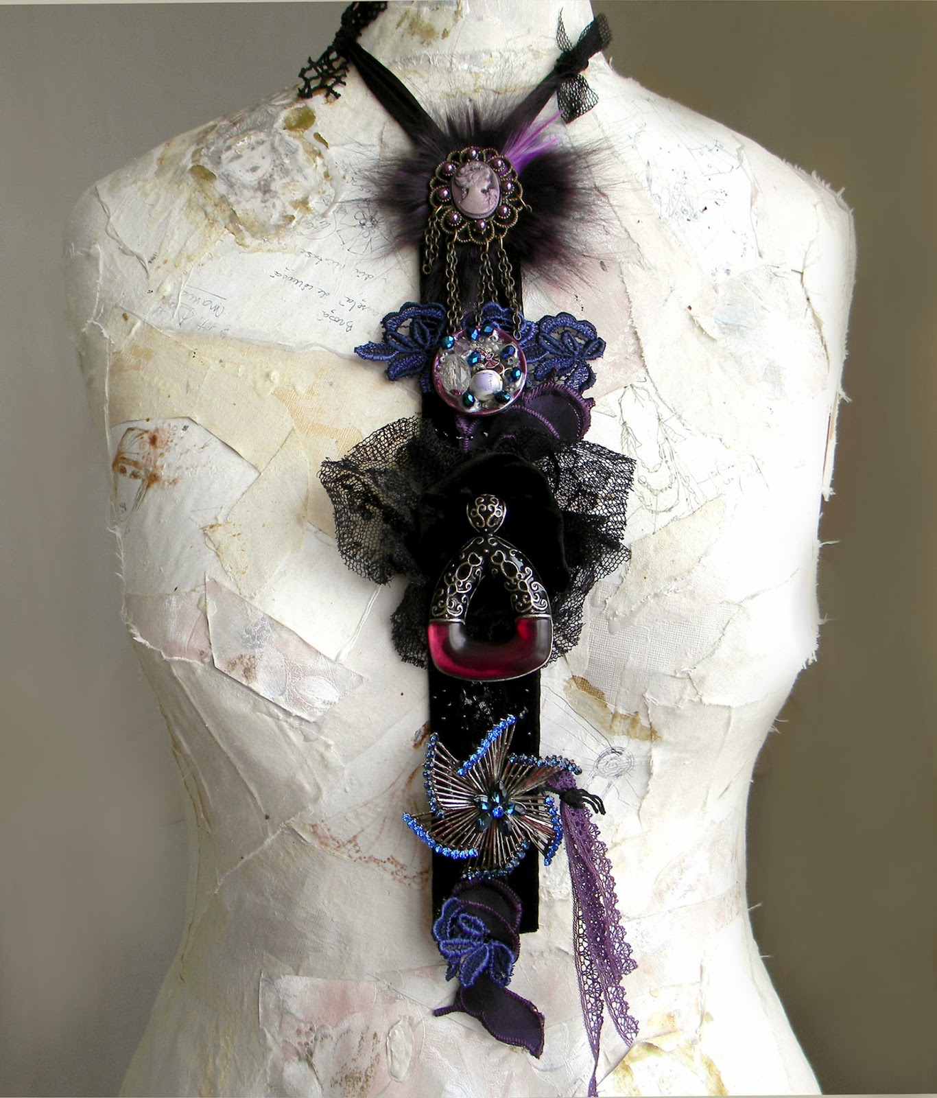 Statement Necklace, Textile Neck Piece or Necktie Victorian Gothic inspired in Black, Blue and Purple Plum