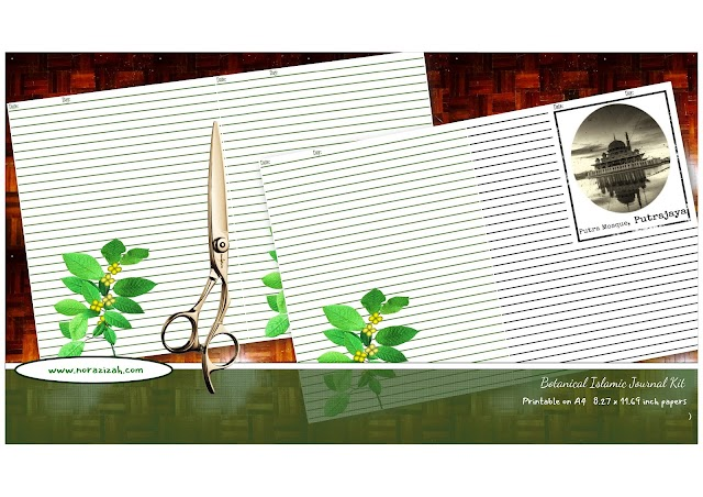 Botanical islamic journal kit life notes journal A4 printable pdf digital download scrapbooking