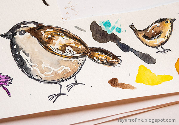 Layers of ink - Adventure Awaits Art Journal Page with Watercolor Birds by Anna-Karin Evaldsson. Watercolor house sparrow.