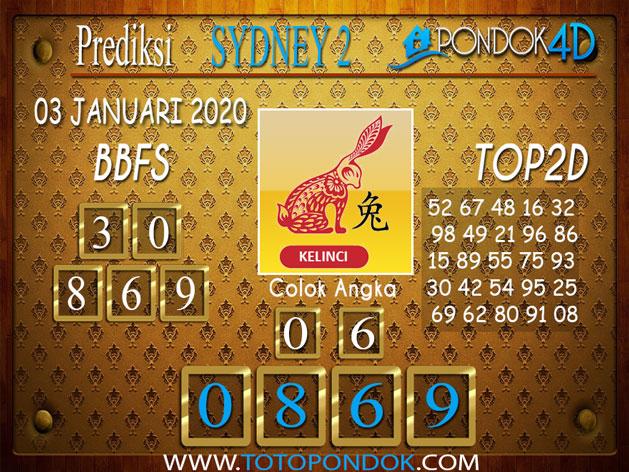 Prediksi Togel SYDNEY 2 PONDOK4D 03 JANUARI 2020