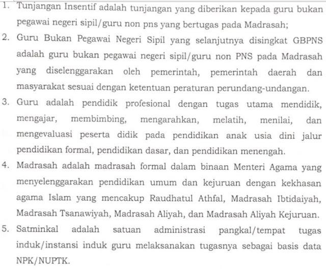 Pemberian tuanjangan insentif Guru Bukan PNS Madrasah, http://www.librarypendidikan.com/