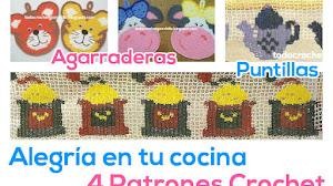 2 Agarraderas + 2 Puntillas para tu Cocina / Patrones crochet
