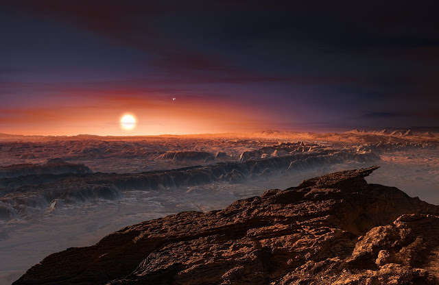 superfície do exoplaneta Proxima b - ilustração artística