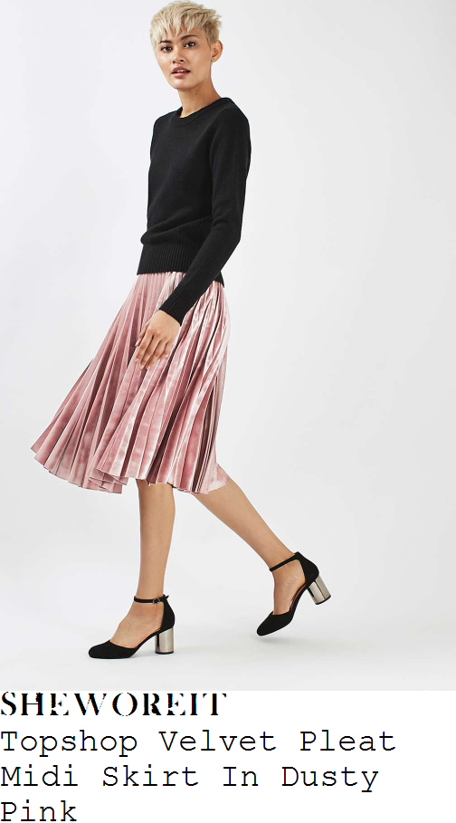holly-willoughby-topshop-dusty-rose-pink-high-waisted-pleated-textured-velvet-midi-skirt