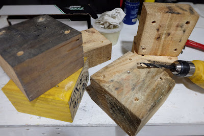 drill hole pilot wood block pallet