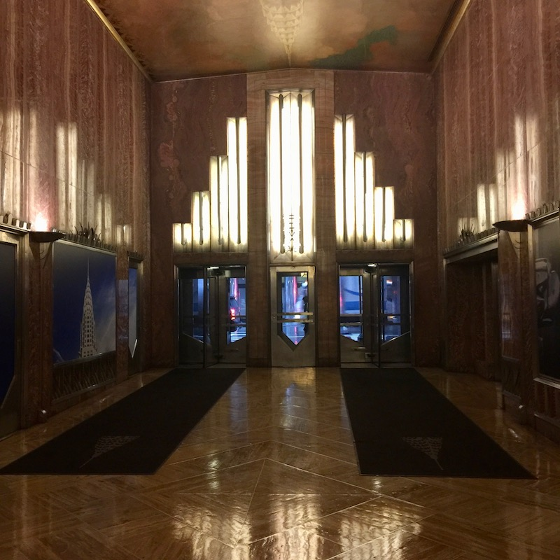 An escape from the rain in a midtown wonder for Chrysler building lobby mural