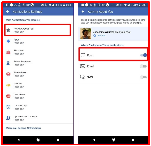 Facebook Notifications Problem