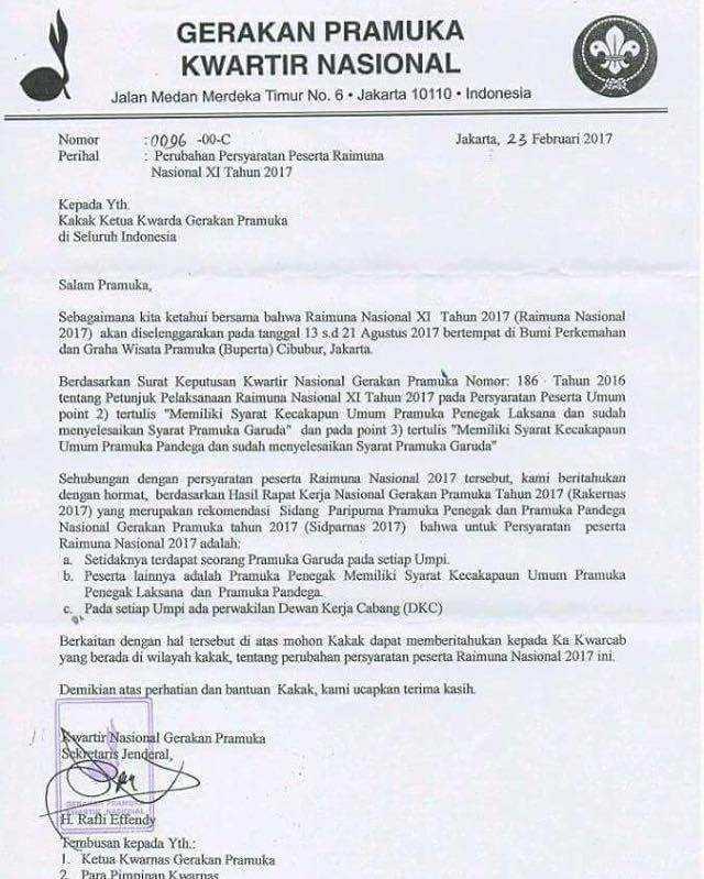 Surat Edaran Kwartir Nasional Nomor : 0096-00-C