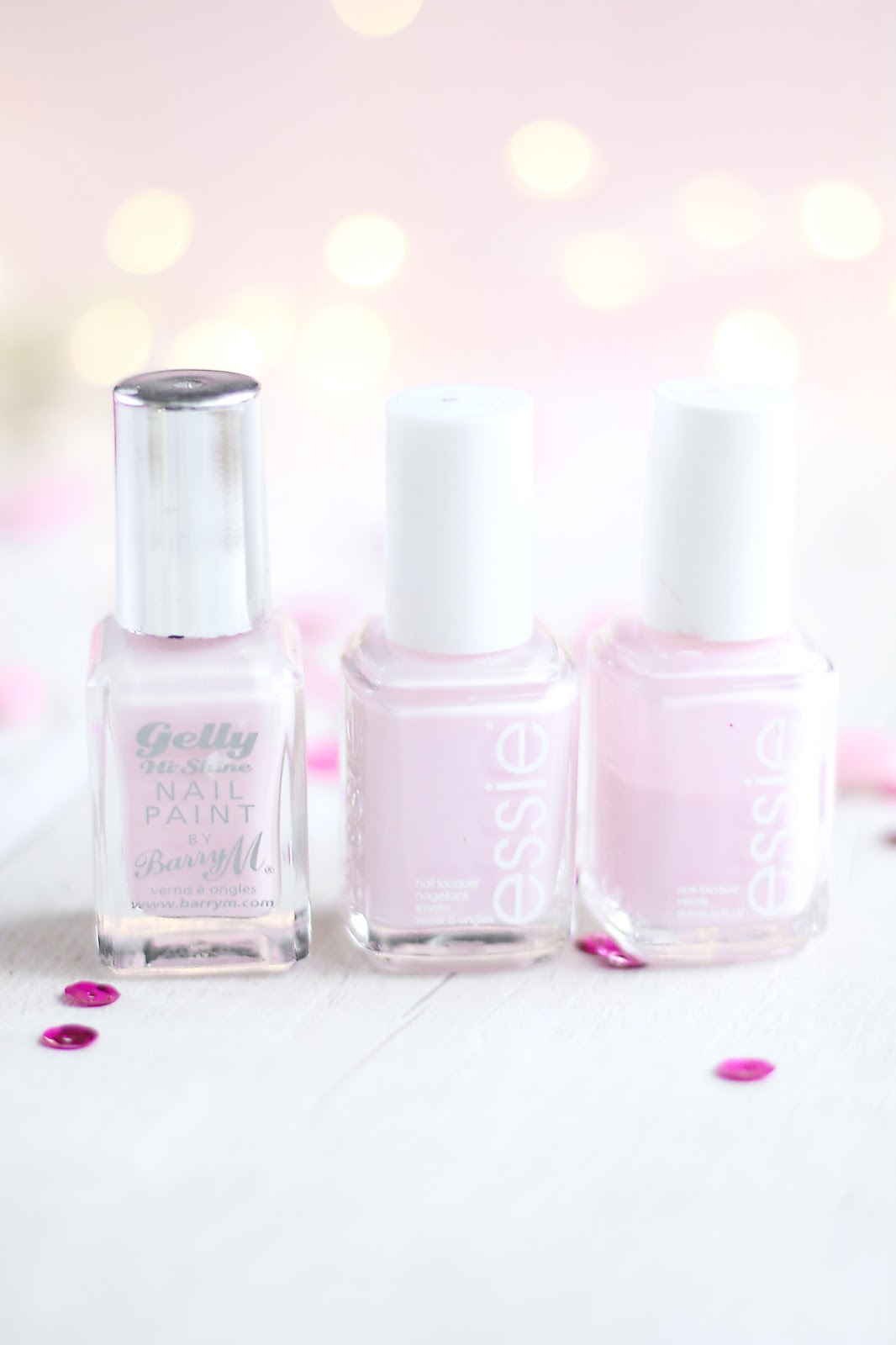 Beauty, Nails, Drugstore, Essie, wedding nails, engagement polish nails, essie fiji, essie minimalstic, barry m rose hip, pink, blush pink, baby pink nail polish