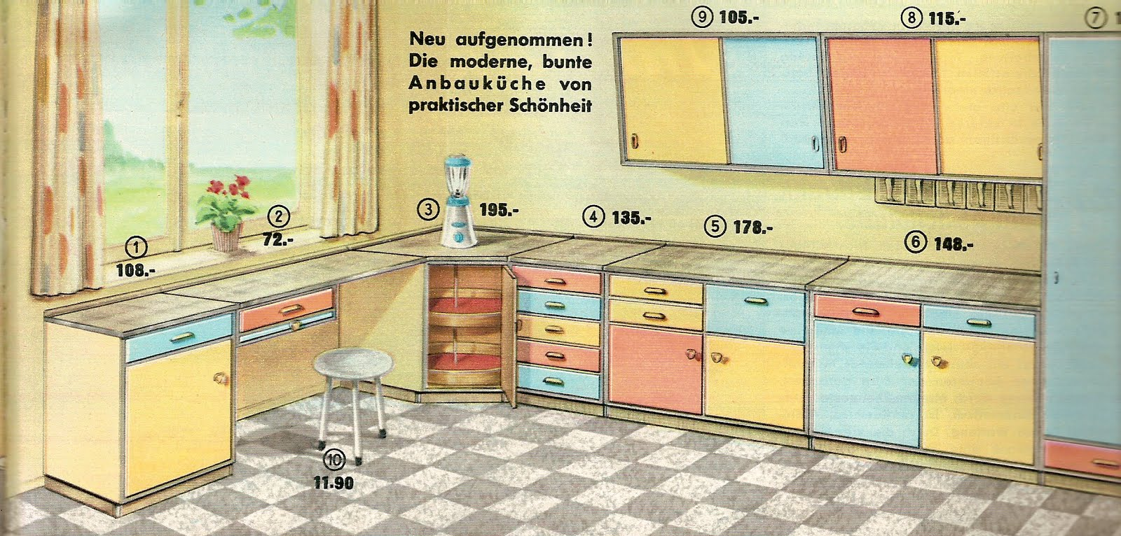 diepuppenstubensammlerin 50er k che bodo hennig 50s kitchen. Black Bedroom Furniture Sets. Home Design Ideas