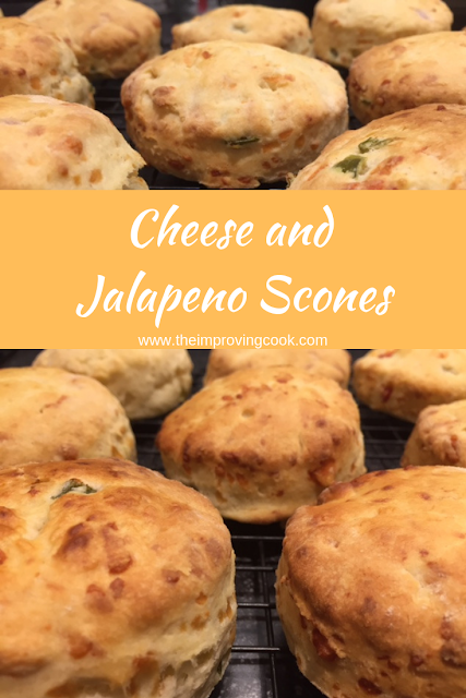 Close up of cheese and jalapeno scones with a text overlay