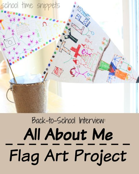 "Fun twist on ""1st Day Back to School Interviews""-- have student tell about him/herself via art by making this Personal Flag Art Project"