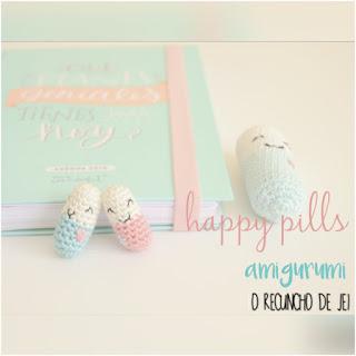 patrón amigurumi Happy Pills o recuncho de jei