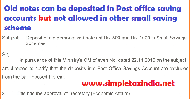 500-1000 notes can be deposited in Post Office Saving ...