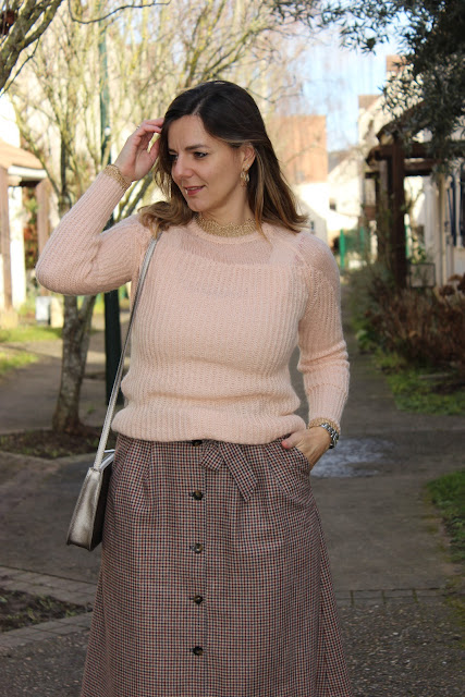 Vêtement en laine, look du jour, jupe sézane, les petites bulles de ma vie