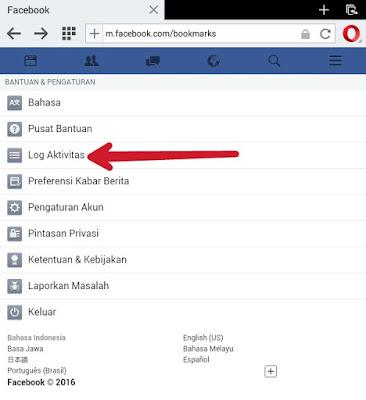 Log aktivitas facebook
