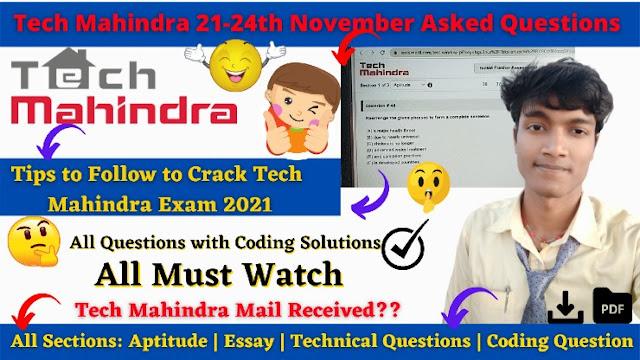 Tech Mahindra 21-24th November 2020 Asked Questions