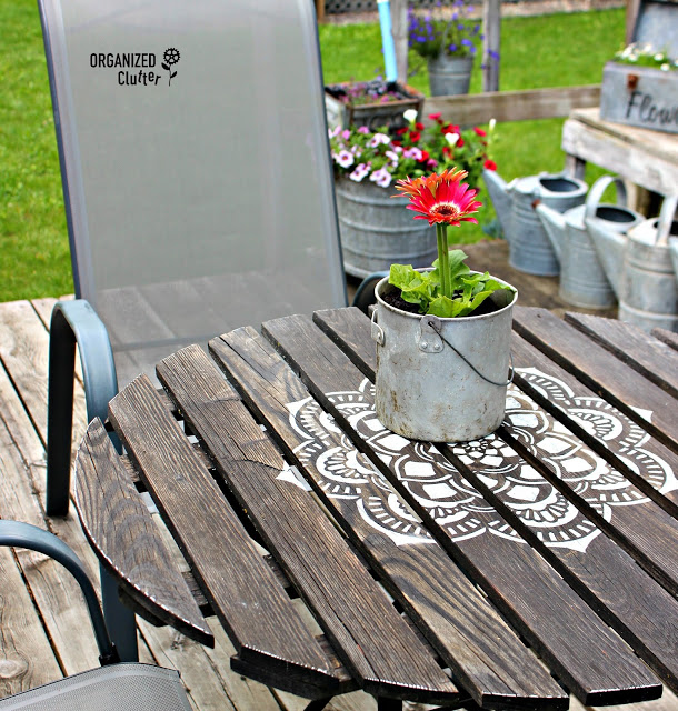 Photo of mandala stenciled bistro table