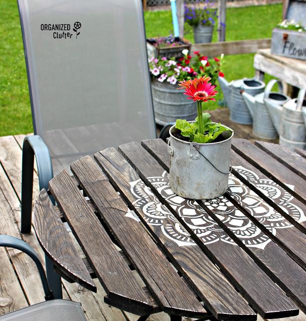 Photo of mandala stenciled bistro table