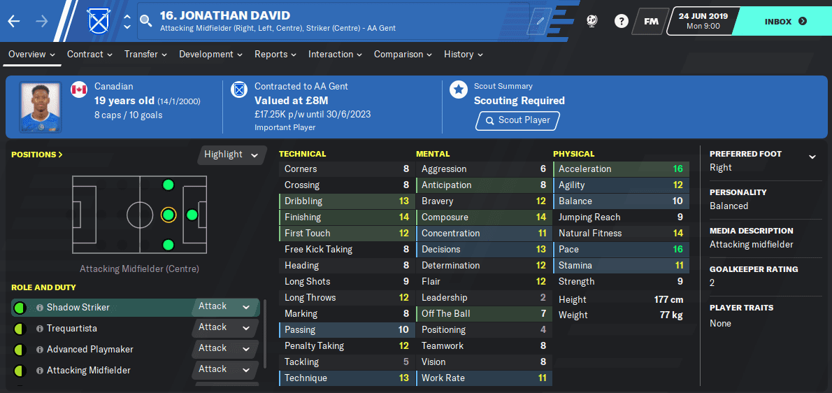 FM2020 Wonderkid - Jonathan David