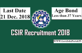 CSIR Recruitment for Scientists Posts 2018