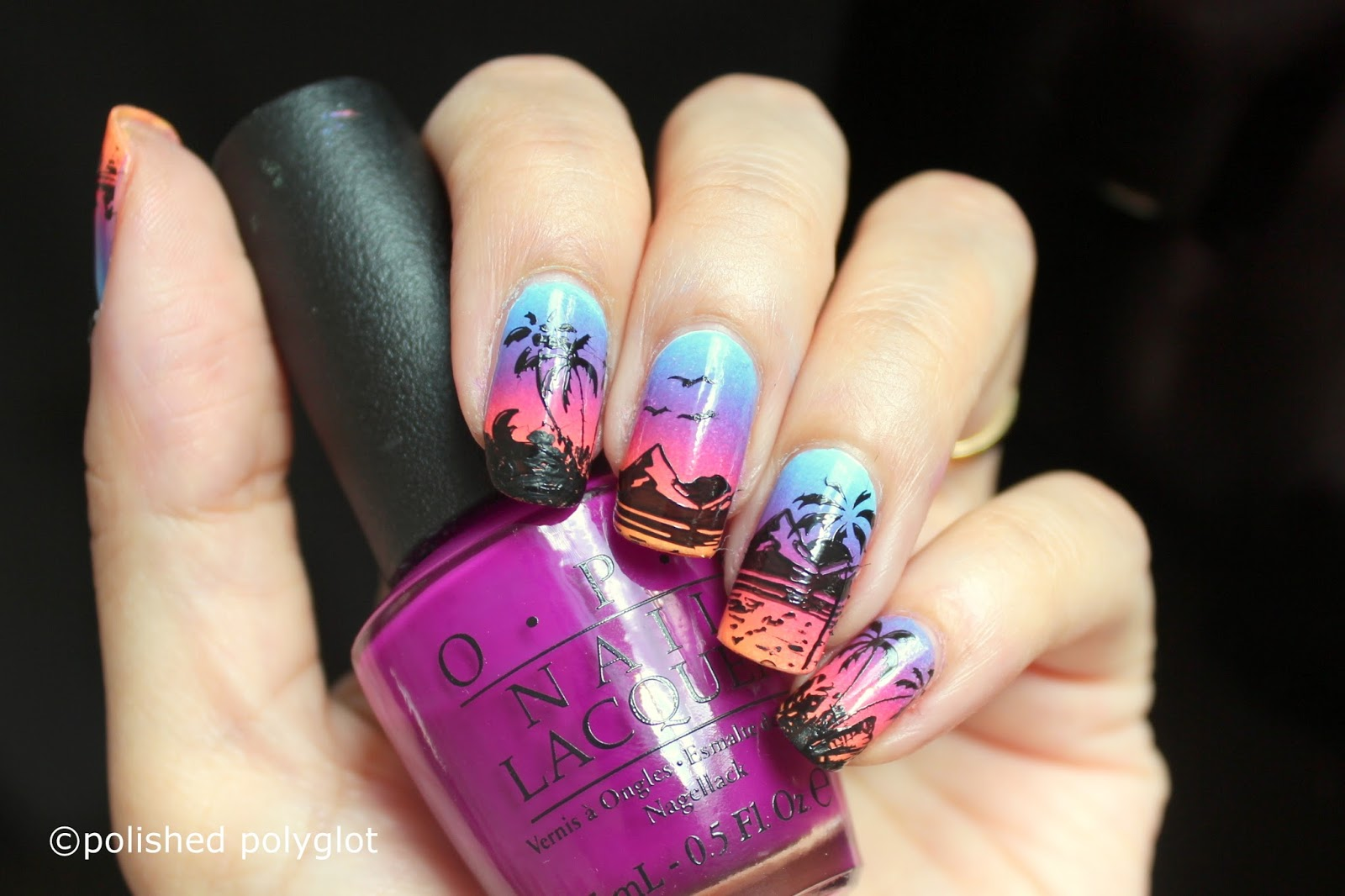 Nail art sunrise on the beach inspired nail design 26gnai its time for another nail art design this time the 26 great nail art ideas challenge is about beach or animal silhouettes so i thought to do a sunrise prinsesfo Choice Image