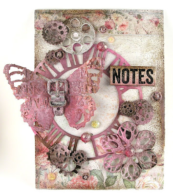 Sizzix Tattered Butterfly Sizzix Weathered Time Stamperia House of Roses For The Funkie Junkie Boutique