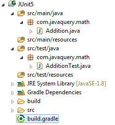 JUnit Test + Gradle project structure