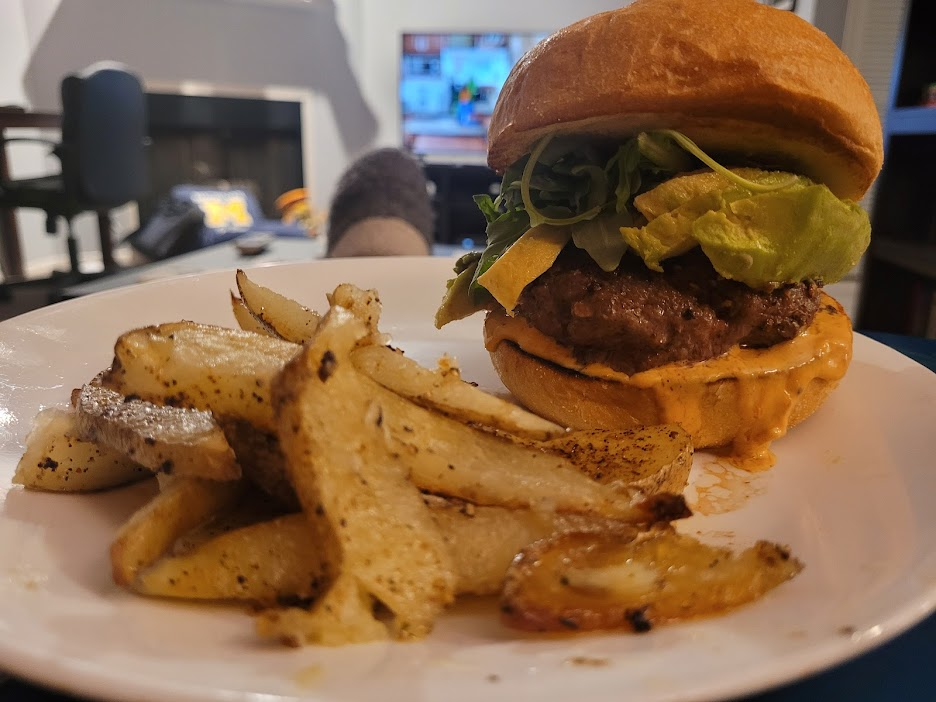 Ultimate CA burger (with avocado) and truffle fries, from Home Chef