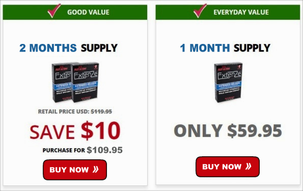Extenze Prices for 2 months and 1 Month Packages