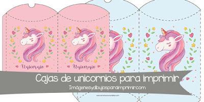 cajitas de unicornios para imprimir